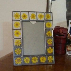 Vintage flower and glass picture frame
